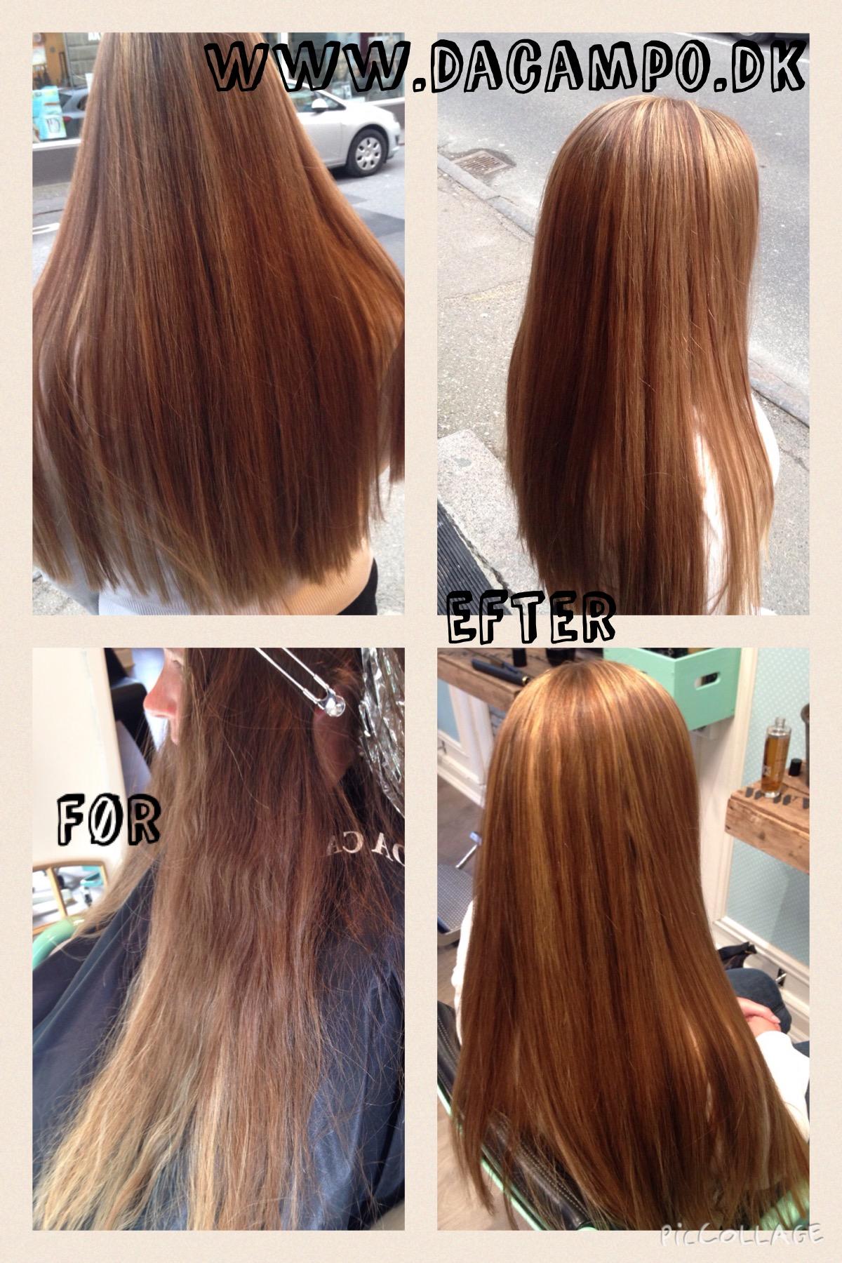 brunt hår med striber